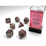 CHX23088 Trans Translucent Dice with Red Numbers 16mm (5/8in) Set of 7