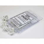CHX23271 Clear Translucent Dice White Numbers D10 Aprox 16mm Set of 10