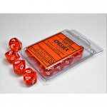 CHX23273 Orange Translucent Dice White Numbers D10 Aprox 16mm Set of 10