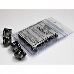 CHX23278 Smoke Translucent Dice White Numbers D10 Aprox 16mm Set of 10