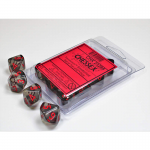 CHX23288 Smoke Translucent Dice Red Numbers D10 Aprox 16mm Set of 10