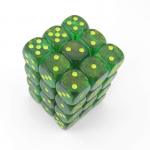 Chx27965 Borealis Maple Green Dice Pips D6 Pack Of 36 12mm
