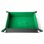 MET535 Velvet Folding Dice Tray 10x10 Inch Green Metallic Dice Games