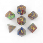 MET611 Red Pearl Swirl With Gold Numbers 7 Dice Set Metallic Dice Games