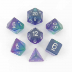 MET627 Blue Aurora with White Numbers 16mm Resin 7 Dice Set Metallic Dice Games