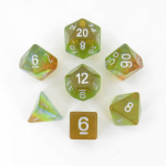 MET662 Yellow Aurora with White Numbers 16mm Resin 7 Dice Set Metallic Dice Games