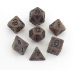 MET697 Ancient Copper with Black Numbers Acrylic 7 Dice Set Metallic Dice Games