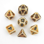 MET699 Ancient Brown with Black Numbers Acrylic 7 Dice Set Metallic Dice Games