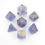 MET703 Midnight Fantasy Unicorn Dice with Yellow Numbers Acrylic 7 Dice Set Metallic Dice Games
