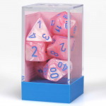 CHX30003 Pink Lustrous Dice with Blue Numbers 16mm (5/8in) Set of 7