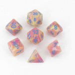 Chx30015 Allusion Festive Dice Blue Pips Rpg Pack Of 7 16mm