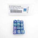 WCX27946E12 Waterlily Festive Dice White Pips 12mm (1/2in) D6 Set of 12