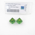 WCXPB1135E2 Maple Green Borealis Dice Yellow Numbers D10 Tens 16mm Pack of 2
