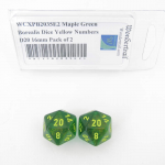 WCXPB2035E2 Maple Green Borealis Dice Yellow Numbers D20 16mm Pack of 2