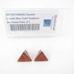 WCXPC0404E2 Scarlet Scarab Dice Gold Numbers D4 16mm Pack of 2