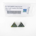 WCXPC0405E2 Jade Scarab Dice Gold Numbers D4 16mm Pack of 2