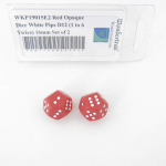 WKP19015E2 Red Opaque Dice White Pips D12 (1 to 6 Twice) 16mm Set of 2