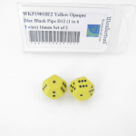 WKP19018E2 Yellow Opaque Dice Black Pips D12 (1 to 6 Twice) 16mm Set of 2