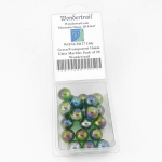 WONGM127 Oily GreenTransparent 16mm Glass Marbles Pack of 20