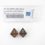 WCXPC0809E2 Blue Blood Scarab Dice with Gold Numbers D8 Aprox 16mm (5/8in) Pack of 2 Wondertrail