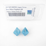 WCXPC0855E2 Aqua Cirrus Dice Silver Numbers D8 Aprox 16mm Pack of 2