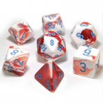 CHX30022 Red White Gemini Dice Blue Numbers 16mm (5/8in) Set of 7