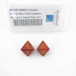 WCXPC0804E2 Scarlet Scarab Dice Gold Numbers D8 Aprox 16mm Pack of 2