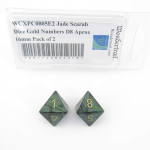WCXPC0805E2 Jade Scarab Dice Gold Numbers D8 Aprox 16mm Pack of 2