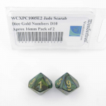 WCXPC1005E2 Jade Scarab Dice Gold Numbers D10 Aprox 16mm Pack of 2