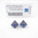 WCXPC1106E2 Royal Blue Scarab Dice Gold Numbers D10 Tens Aprox 16mm Pack of 2