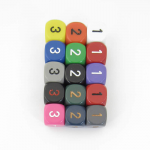 WCXXQ0399E15 Assorted Opaque Dice Numbers D3 (d6 1-3 Twice) 16mm Pack of 15