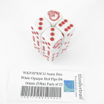 WKP18703E12 Santa Dice White Opaque Red Pips D6 16mm (5/8in) Pack of 12