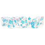 MET617 Clear with Confetti Dice with Blue Numbers 16mm (5/8in) Resin 7 Dice Set