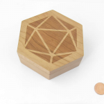 MET809 Cherry Wood Hexagon Dice Case Holds 7 Dice Metallic Dice Games