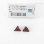 WCXPV0424E2 Burgundy Vortex Dice Gold Numbers D4 Aprox 16mm (5/8in) Pack of 2