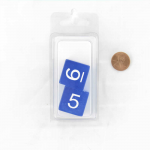 WKP19049E2 Blue Jumbo Transparent Dice White Numbers D6 25mm (1 inch) Set of 2