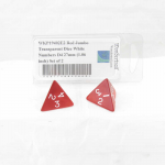 WKP19402E2 Red Jumbo Transparent Dice White Numbers D4 27mm (1.06 inch) Set of 2