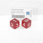 WKP19403E2 Red Jumbo Transparent Dice White Numbers D6 25mm (1 inch) Set of 2