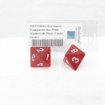 WKP19404E2 Red Jumbo Transparent Dice White Numbers D8 25mm (1 inch) Set of 2
