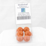 WONGM253 Orange Opaque 25mm (1 Inch) Glass Marbles Pack of 6