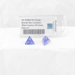 WCXPB0477E2 Purple Borealis Dice Luminary White Numbers D4 16mm Pack of 2
