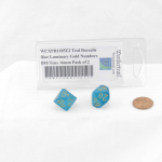 WCXPB1185E2 Teal Borealis Dice Luminary Gold Numbers D10 Tens 16mm Pack of 2