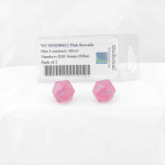 WCXPB2084E2 Pink Borealis Dice Luminary Silver Numbers D20 16mm (5/8in) Pack of 2