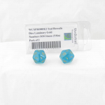 WCXPB2085E2 Teal Borealis Dice Luminary Gold Numbers D20 16mm (5/8in) Pack of 2
