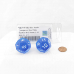 WKP19046E2 Blue Jumbo Transparent Dice White Numbers D12 29mm (1.14 inch) Set of 2