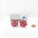WKP19380E2 Red Jumbo Transparent Dice White Numbers D20 29mm (1.14 inch) Set of 2