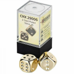 CHX29006 Gold Plated 16mm 6 Sided Dice 2 ea in Box by Chessex