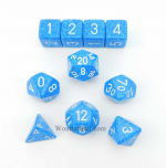 KOP09983 Water Elemental Dice With White Numbers Set 10pc Dice