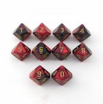 CHX26233 Black-Red/Gold Gemini d10 Set (10) by Chessex