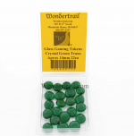 WON0075 Crystal Green Transparent Gaming Counter Tokens Aprox 14mm Pack of 22